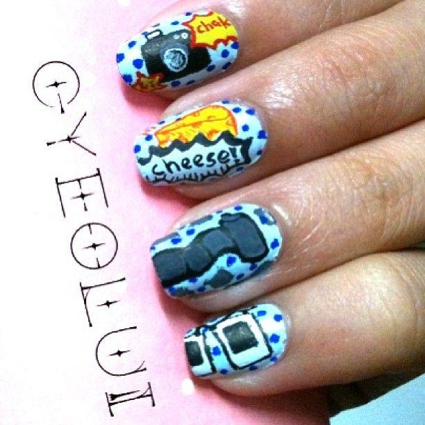 Camera NailsNails Art, Nails Tech, Impossible Nails, Cameras Nails, Theme Nails