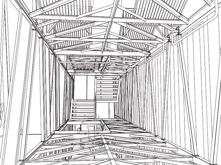 Sketch of the inside of the billboard house