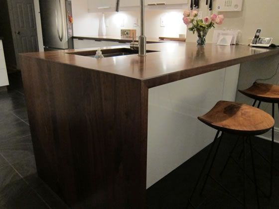 The Southside Woodshop - waterfall edge countertop