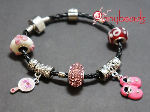 """Pandora"" Style Bracelet with Pink Rhinestones Bead, Glass Beads and Cute Charms"