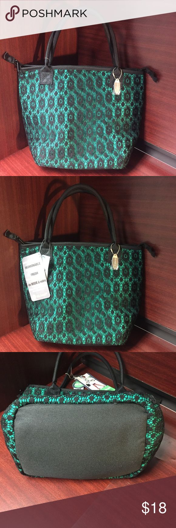 FIT & FRESH Lace Lunchbag Luxurious Lace Chicago Insulated Lunch Bag. Two sturdy handles, long enough to wear over the shoulder. Interior mesh pocket for keys, snack or utensils. Extra thick insulation to keep contents cool. Ice pack included. Brand new, with tags! Fit & Fresh Bags Travel Bags