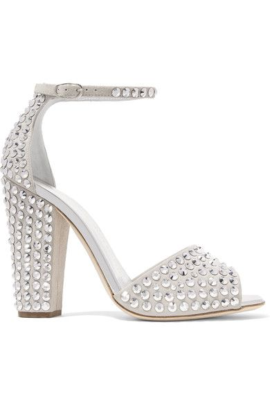 Giuseppe Zanotti - Crystal-embellished Suede Sandals - Light gray - IT38