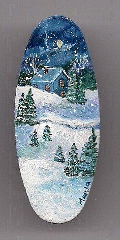 Sleepy White Night Winter Scene. Original Miniature Hand Painted Wearable Art Pin. Acrylic on Wood.