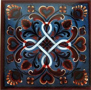 "Norwegian tile, Hordaland Rosemaling, 6"" x 6"""