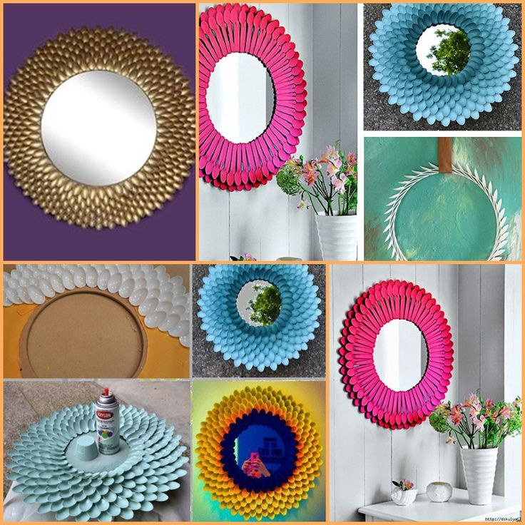 recycled plastic spoons turned into creative mirrors