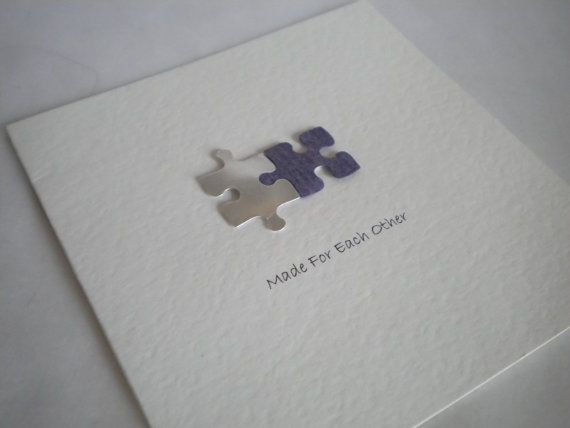Handmade 'Made For Each Other' Jigsaw Wedding Invitation...watercolor and ink. not actual cardboard. yuck.