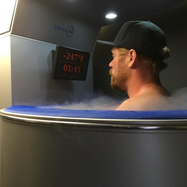 Doing some #cryotherapy at Gray chiropractic & wellness center before watching the big game tonight, it helps my nerves! #lgrw #frozenginger