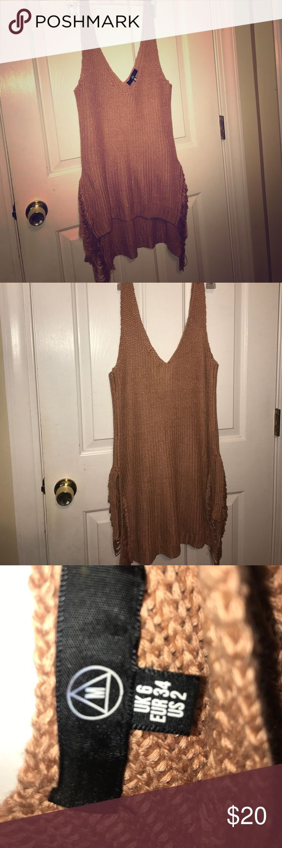 Misguided sweater tank/tunic Shredded slides. Relaxed loose fit. Copper Color. From website Misguided....US SIZE 2.....but fits like a US size 4/6 Tops Tunics