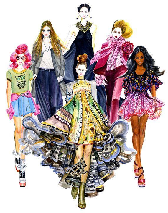 Fashion Illustration  Girls in Style by sunnygu on Etsy