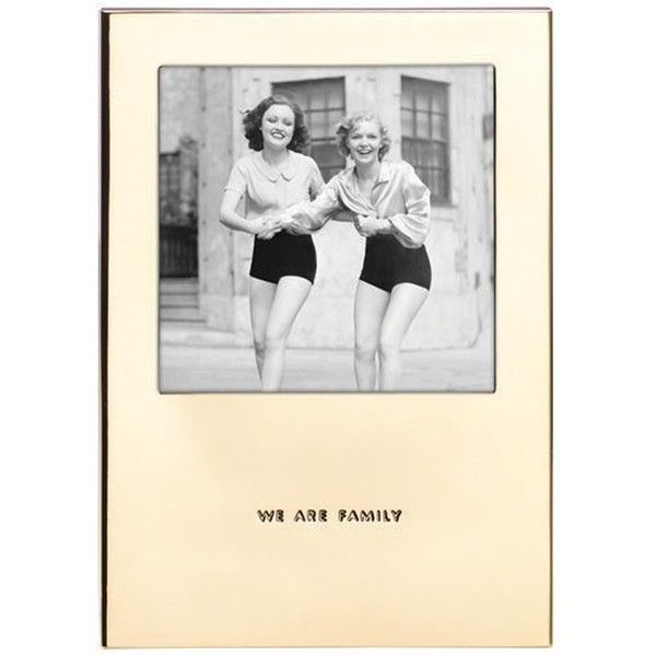 Kate Spade New York 'Haven Street - We Are Family' Picture Frame (€33) found on Polyvore featuring home, home decor, frames, gold, modern home accessories, gold home accessories, gold picture frames, kate spade frames and kate spade home decor