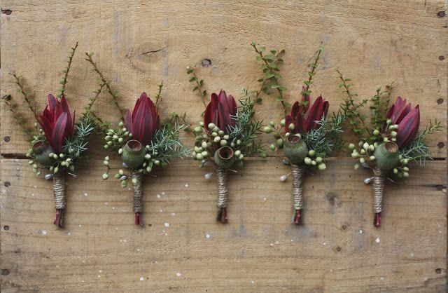 Swallows Nest Farm  Rustic Autumn Orchard Wedding - gum nuts, leucadendron, pittosporum berries, myrtle, juniper