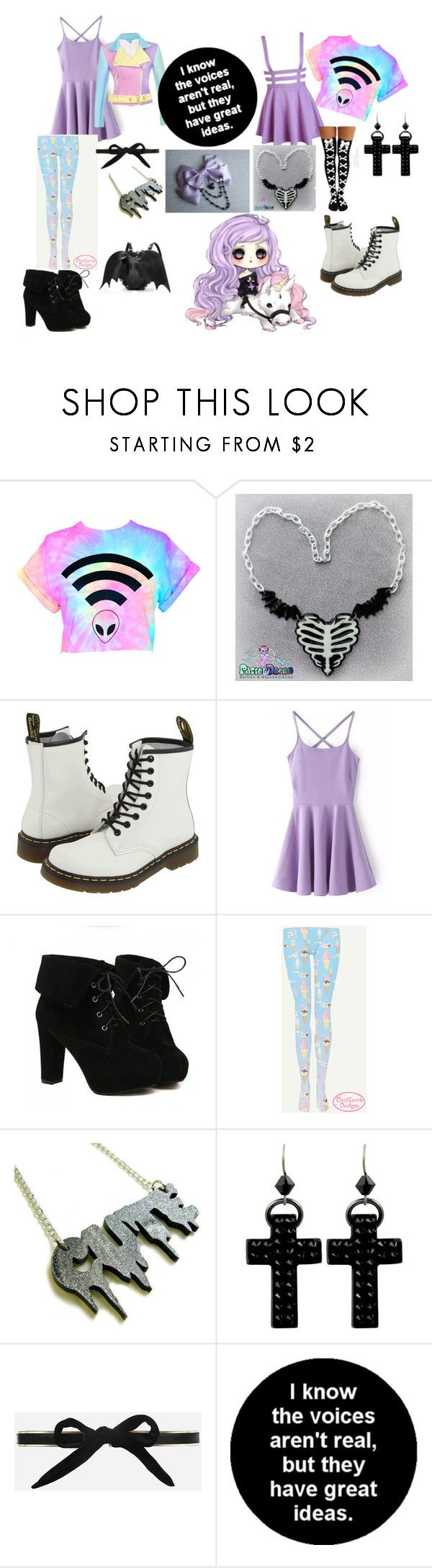 """""""Cute Pastel Goth OUTFITS! XD"""" by cutiepieadorbz ❤ liked on Polyvore featuring Mode, Dr. Martens, TURNOVER, Tarina Tarantino und CHARLES & KEITH"""
