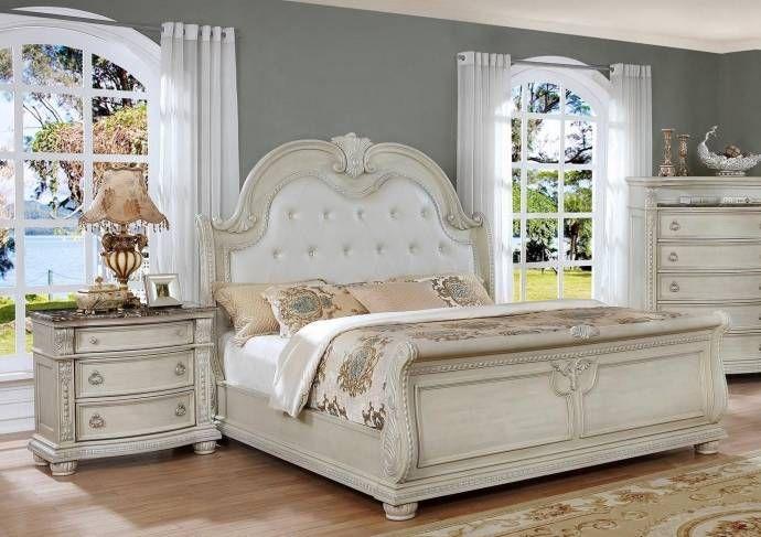 Crown Mark B1630 Stanley Antique White Solid Wood King Bedroom Set 3pcs Classic B1630 Ek Set 3 Buy Online King Bedroom Sets Bedroom Set Bedroom Sets