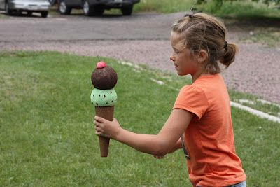 Ice cream cone relay. Made from styrofoam shapes painted with acrylics.