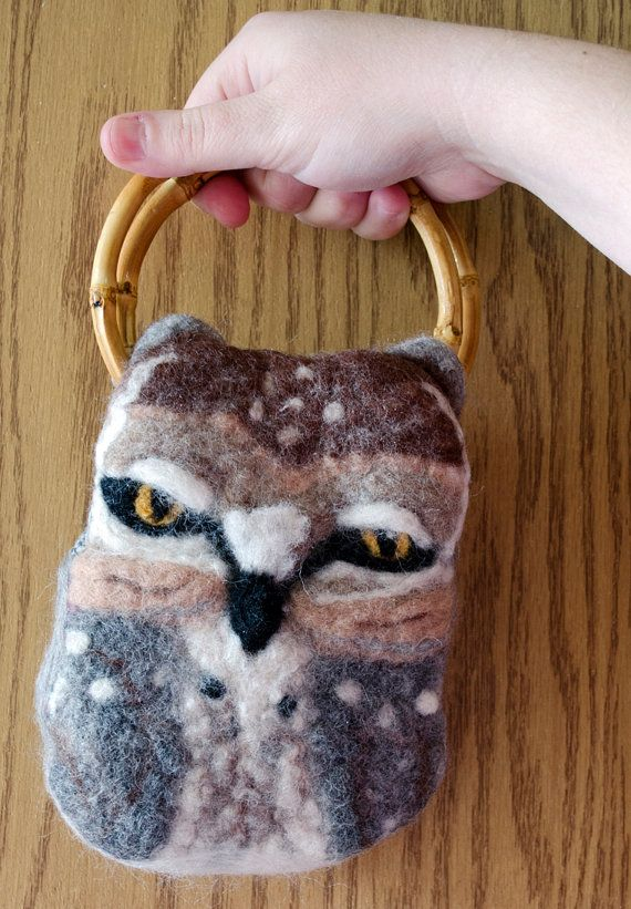 Needle Felted Owl Purse by innercreatures