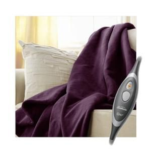 Sunbeam Microplush Electric Heated Throw Blanket Purple 8030-030-402