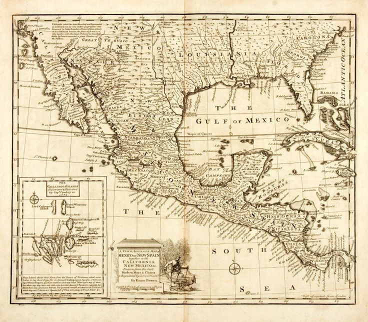 Eman Bowen. Original Black and White Engraved Map: A New and Accurate Map of Mexico or New Spain Together with California New Mexico &c., et al. [N.p., n.d., circa 1780].