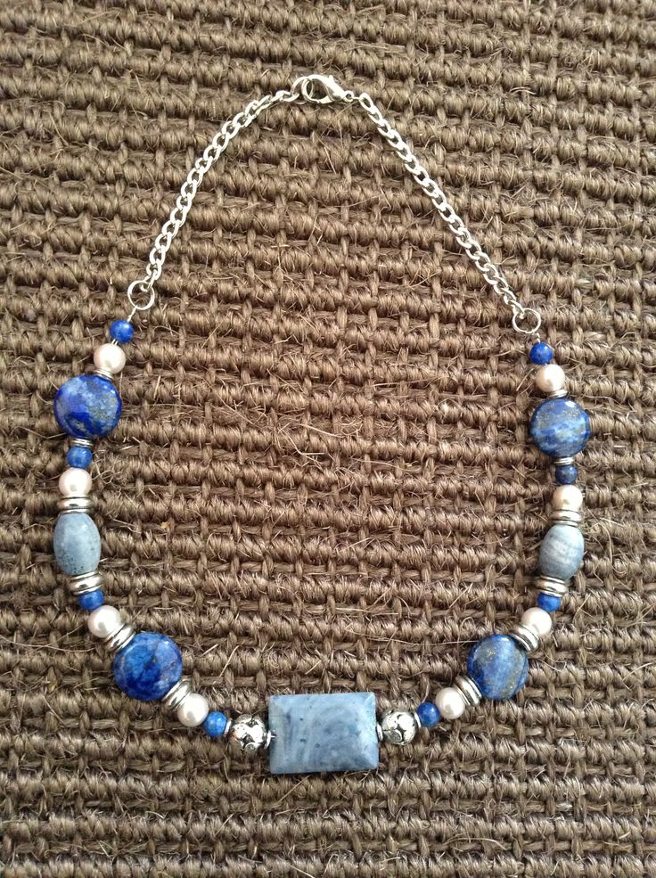 Lapis lazuli and blue coral necklace