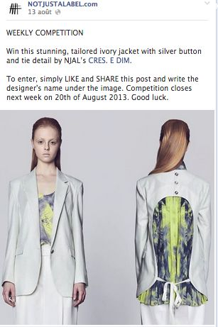 WEEKLY CONTEST ON NOT JUST A LABEL  WIN A CRES. E DIM. JACKET NOW!  https://www.facebook.com/NOTJUSTALABEL?ref=hl