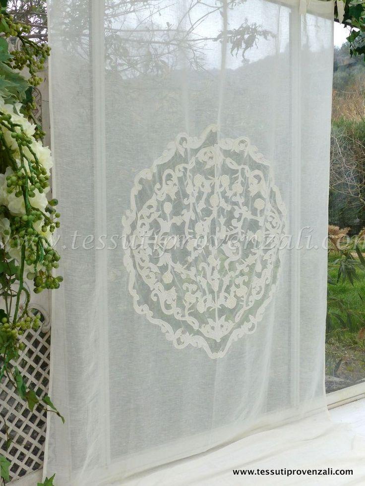 "Tendone misto lino shabby chic serie ""Rosace"" Blanc Mariclò"
