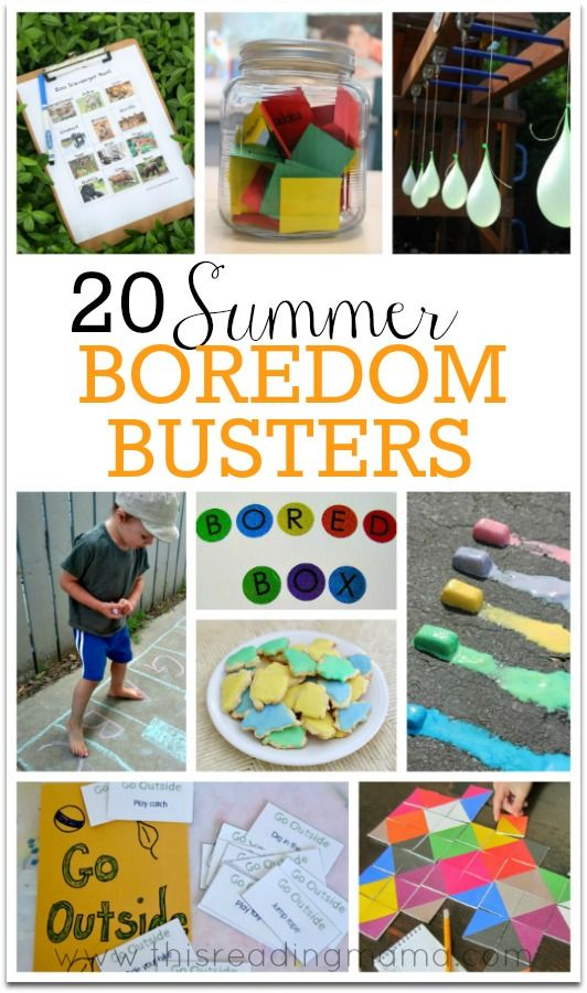 20 Summer Boredom Busters ~ *BONUS* these sure to bust boredom ideas also integrate and SNEAK in some summer learning!   This Reading Mama