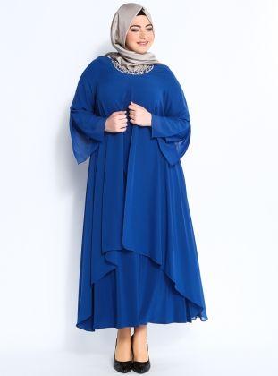 Taş İşlemeli Abiye Elbise - Saks - He&amp de :: Zinde Market
