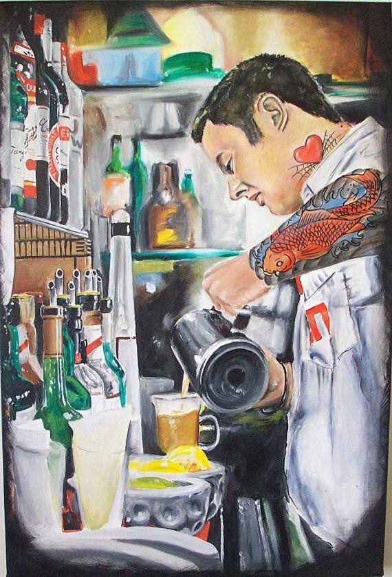 JEREMY WORST Bartender Original Artwork Signed by JeremyWorst