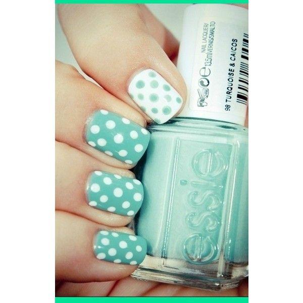 polka dots nails, cute found on Polyvore #polkadots #nails #summer