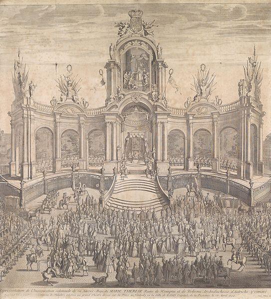 Huldigung der Kaiserin Maria Theresia am 27 April 1744 in Gent. Kupferstich von Franz Pilsen nach David Kinde,85x80 cm.