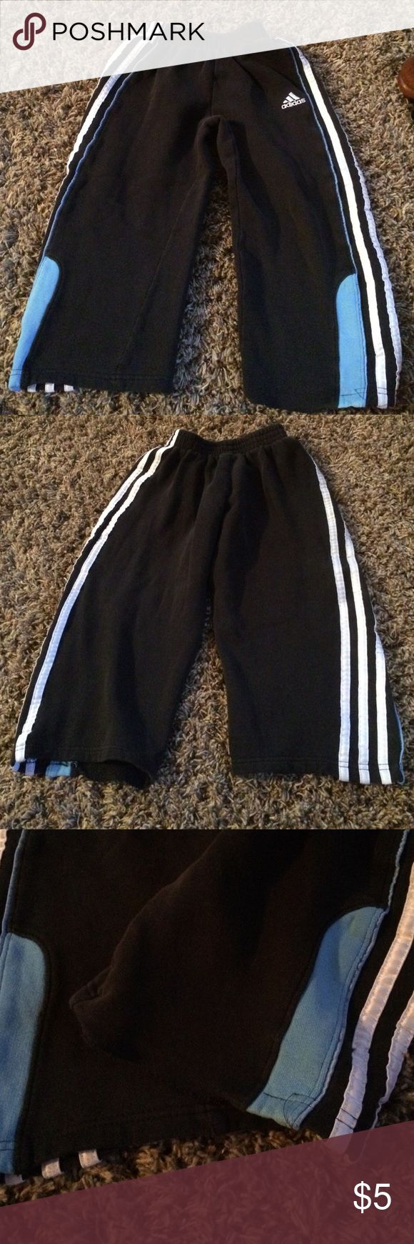 Adidas kid sweats- Adidas sweats! Run very small would fit 3 to 4 year old best! Has a seam that came apart but could be fixed, seen in picture! No pockets! Thanks for looking! Adidas Bottoms Sweatpants & Joggers