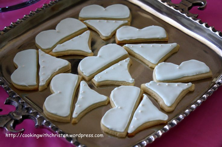 Cut Heart Shaped Cookies in half to make Cute Swimsuit Cookies