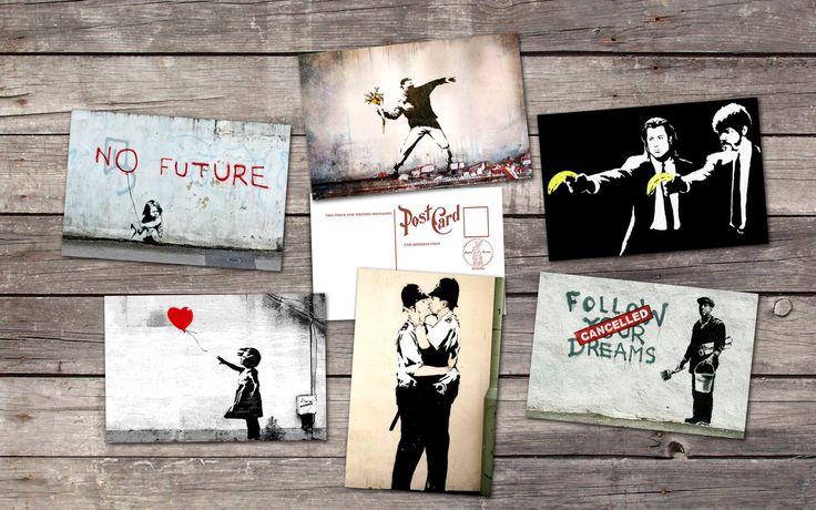 Banksy set 6 postcards   banksy art   banksy poster   graffiti   street art   banksy print   banksy wall art   banksy painting banksy prints by PaperBunnyShop on Etsy https://www.etsy.com/listing/518943632/banksy-set-6-postcards-banksy-art-banksy