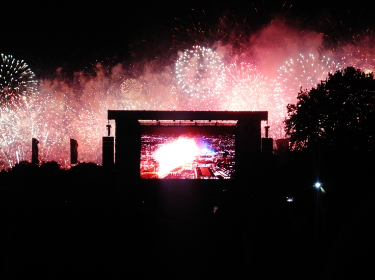 Fireworks at the Opening Ceremonies, as seen from Victoria Park.