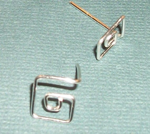 Handmade Diamond Ear Studs Silver Plate by WickedlyWired on Etsy, $5.50
