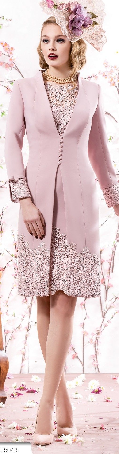 This dusty pink mother of the bride dress has long sleeves. Our US dress design firm can replicate this look for you in any color and with any changes you need.  We specialize in affordable custom mother of the bride suit #dresses with sleeves.  We can sket a design or work from any picture.  See other mother of the bride dresses for inspiration at http://www.dariuscordell.com/product-category/mother-of-the-bride-dresses/