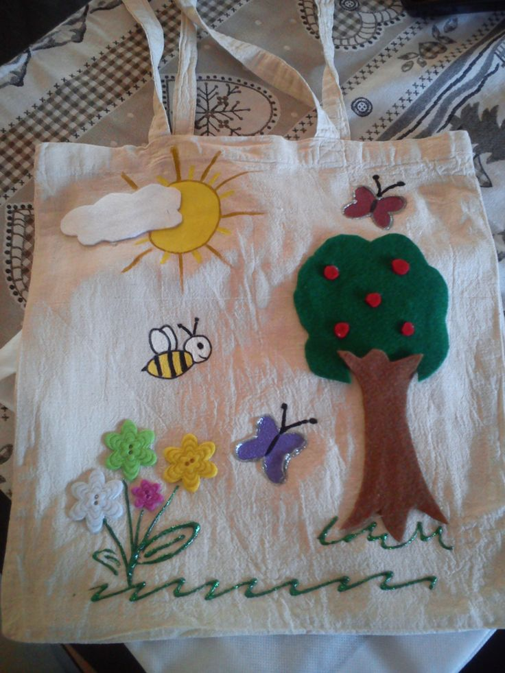 Hand painted bag and felt drawing