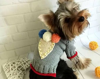 perro pequeño traje suéter para perros ropa para mascotas cachorro ropa yorkie perro ropa ganchillo perro suéter tejido a mano Vestido de perro para perro