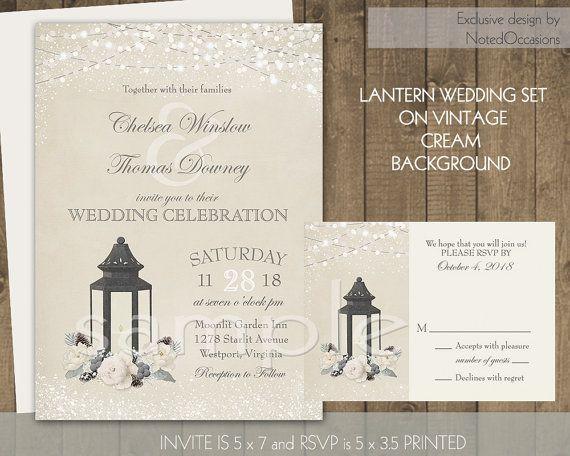 lantern wedding invitations rustic wedding by notedoccasions - Lantern Wedding Invitations