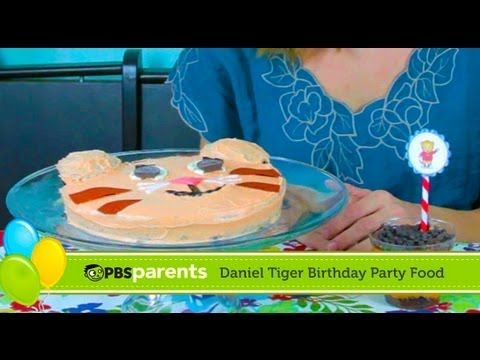 Learn how to create a Daniel Tiger cake and striped parfaits with this Daniel Tiger's Neighborhood birthday party tutorial from @PBS Parents!