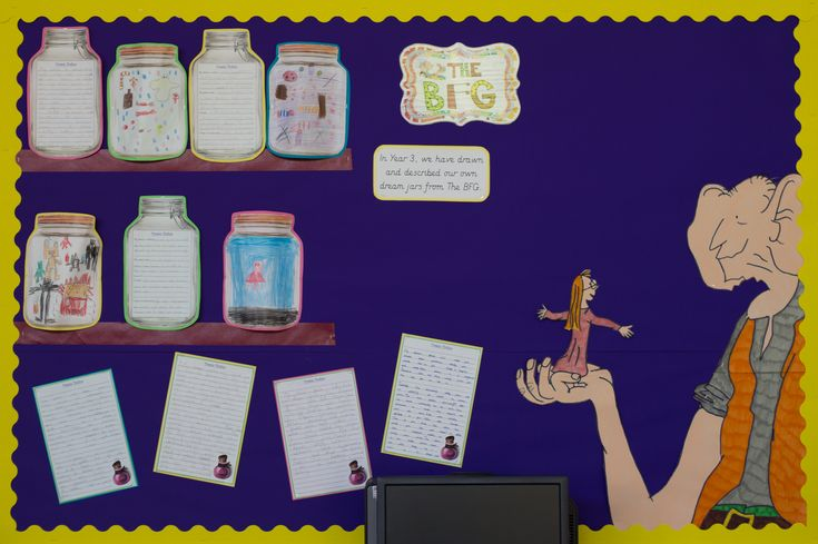 'The BFG' Literacy display. Children wrote about and drew their own dream jars and these have been displayed on shelves. Sophie and the BFG drawn and coloured using felt tip pens. More work to be added.