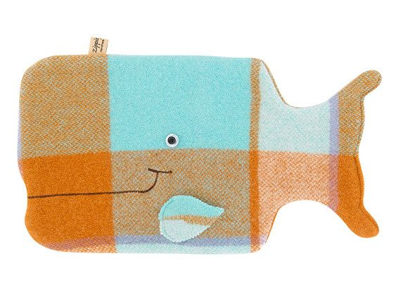 A cute but practical Hot water bottle cover, made from a thick vintage 100% New Zealand wool blanket    The happy little whale hottie cover/ P.J