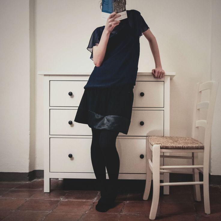 black skirt and blue top_ tramedinchiostro