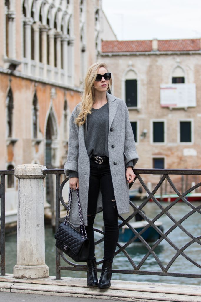 How to Make Any Outfit Look Edgy: oversized gray coat, black distressed jeans, Gucci belt, Chanel Jumbo classic flap bag black caviar with silver hardware, gray boyfriend coat outfit, how to make an outfit edgy