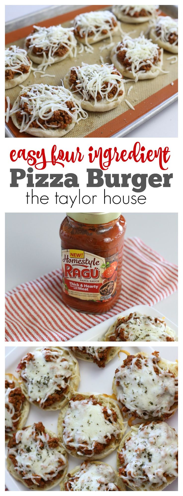Four Ingredient Easy Pizza Burgers that are perfect for busy weeknight meals! #Ragu #ad