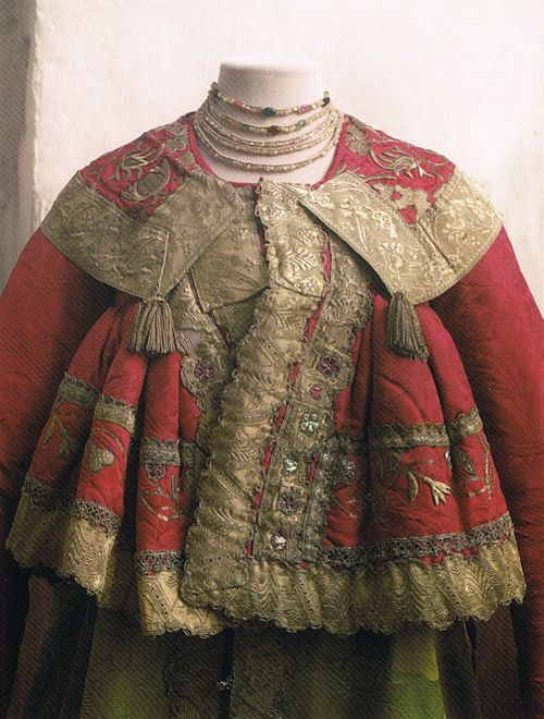 Russia,  northern provinces, women's festive dress with padded jacket (detail), late 18th-early 19th century