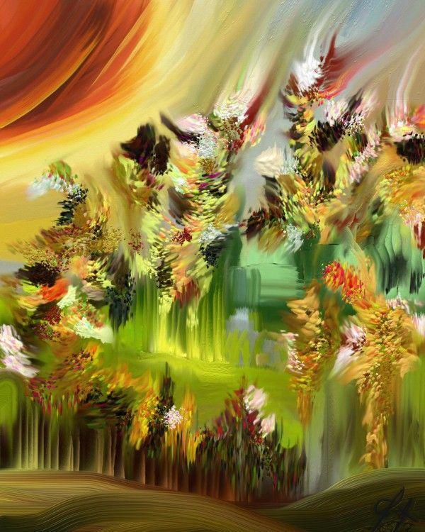 paysage de mai - Digital Arts,  70x70 cm ©2014 by Gabriela Simut -  Digital Arts, Digital Painting