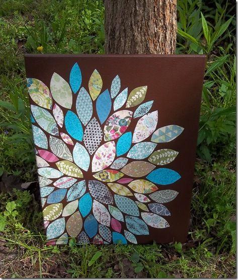DIY flower wall art:: scrapbook paper, modge podge, paint & canvas.