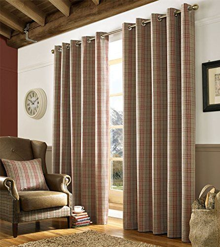 Homescapes Beige And Red Tartan Check Plaid Ready Made Eyelet Curtain Pair Width 90 X