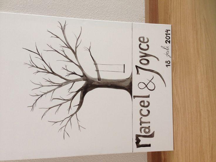 Gastenboek, boom op canvas, laat de gasten hun vingerafdruk met naam neerzetten als blaadjes!