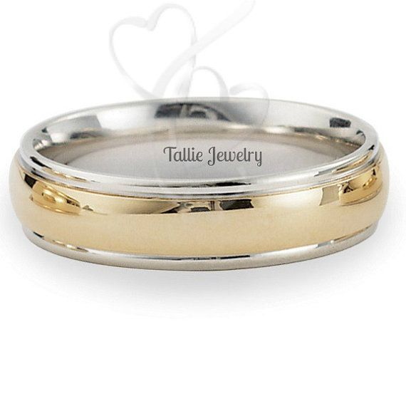 MensTwo Tone  Wedding Rings14K Gold Wedding by TallieJewelry